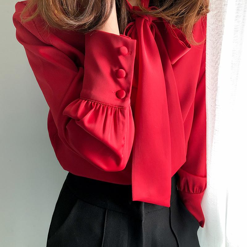 黑色雪纺衫 2020新款秋季衬衫女蝴蝶结长袖气质欧货洋气系带时尚雪纺红色上衣_推荐淘宝好看的黑色雪纺衫