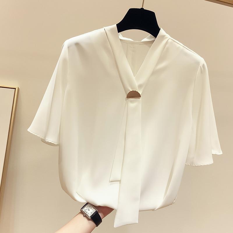 白色雪纺衬衫 2019夏季新款韩国气质显瘦V领半环扣纯色短袖雪纺衫女套头衬衫_推荐淘宝好看的女白色雪纺衬衫