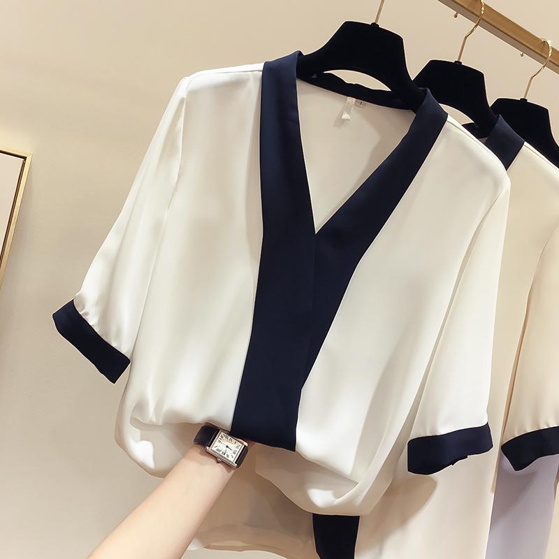 女士韩版雪纺衫 2021夏装新款韩版气质显瘦V领拼色套头短袖雪纺衫女薄款上衣_推荐淘宝好看的韩版雪纺衫