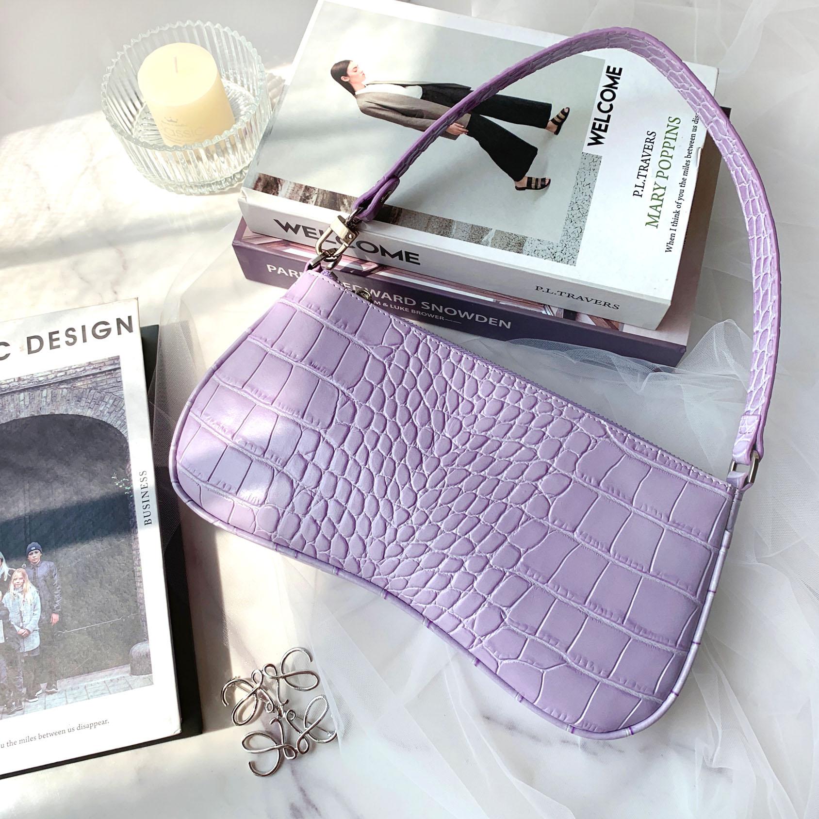 紫色信封包 包手提女小包复古vintage单肩信封手拿紫色法棍腋下包_推荐淘宝好看的紫色信封包