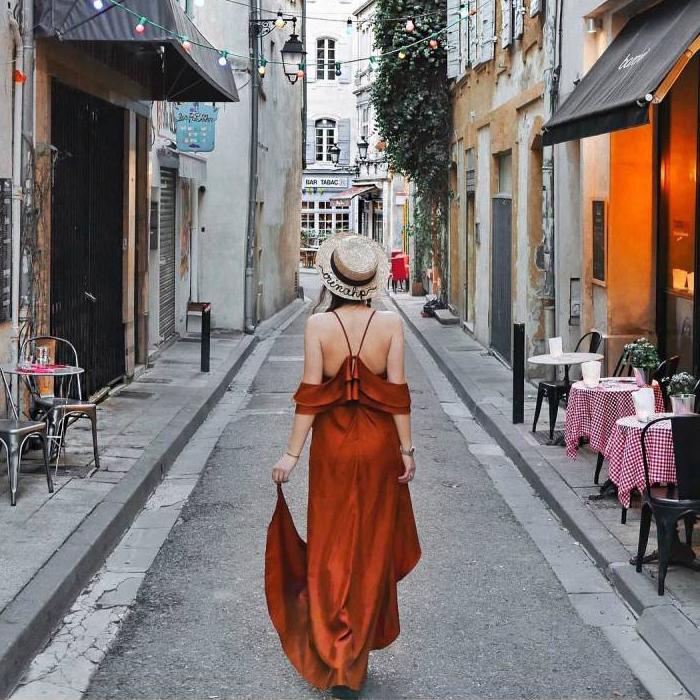 礼服 橘红美人泰国海边度假连衣长裙吊带沙滩裙优雅显瘦礼服裙_推荐淘宝好看的礼服