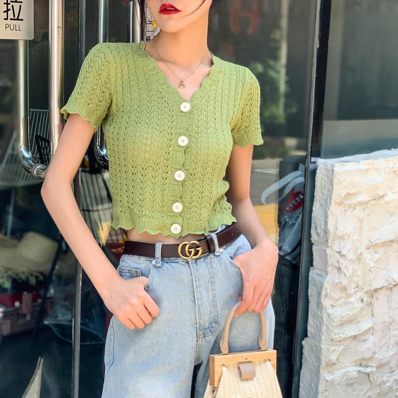 绿色针织衫 冰丝镂空针织短袖开衫女夏薄款外搭防晒衫牛油果绿色V领短款上衣_推荐淘宝好看的绿色针织衫