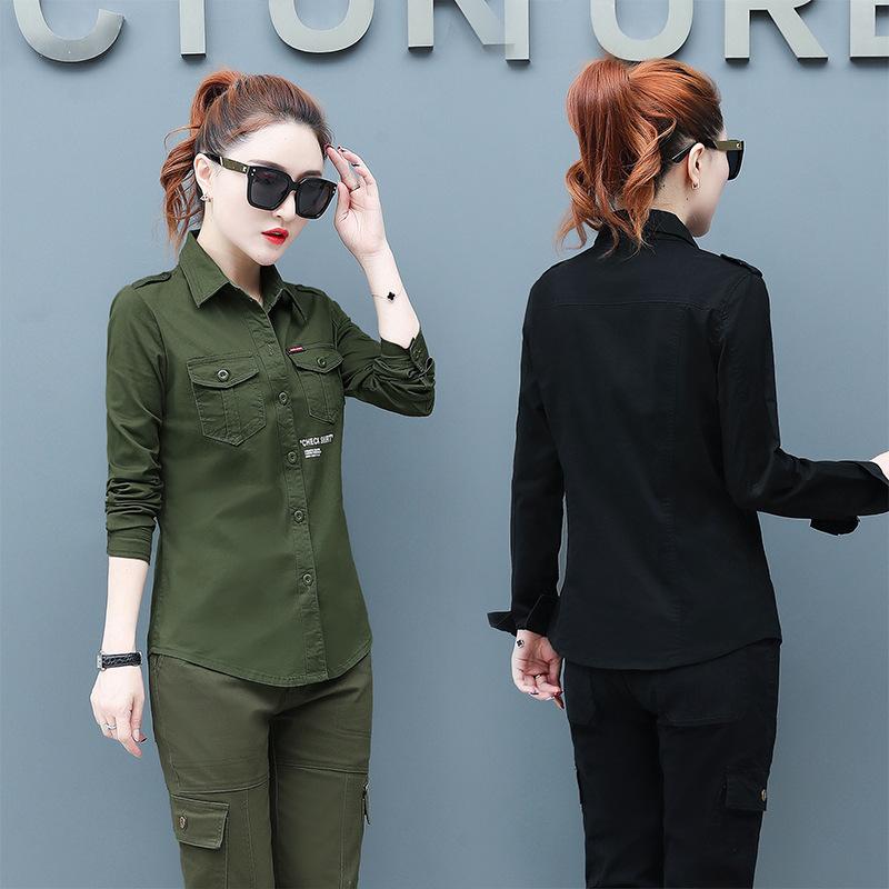 休闲长袖衬衫 2021春夏女士休闲军装衬衫修身黑色长袖迷彩服军绿韩版衬衣套装潮_推荐淘宝好看的女休闲长袖衬衫