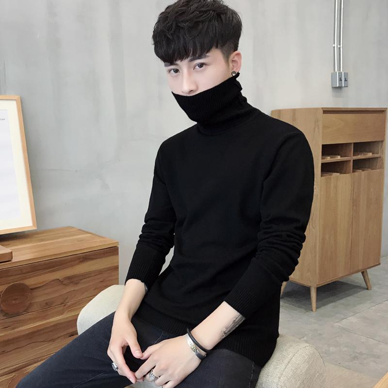 男装 男士修身打底衫高领毛衣纯色针织衫长袖韩版两翻领线衫加厚男装39_推荐淘宝好看的男装