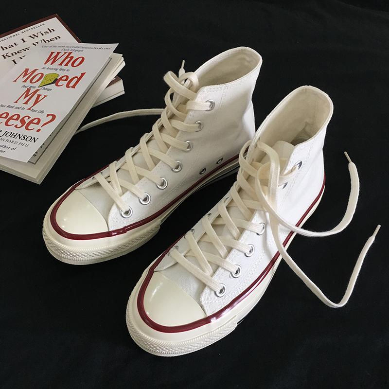 白色平底鞋 白色高帮男女同款情侣款百搭休闲平底透气2020春秋新款系带帆布鞋_推荐淘宝好看的白色平底鞋