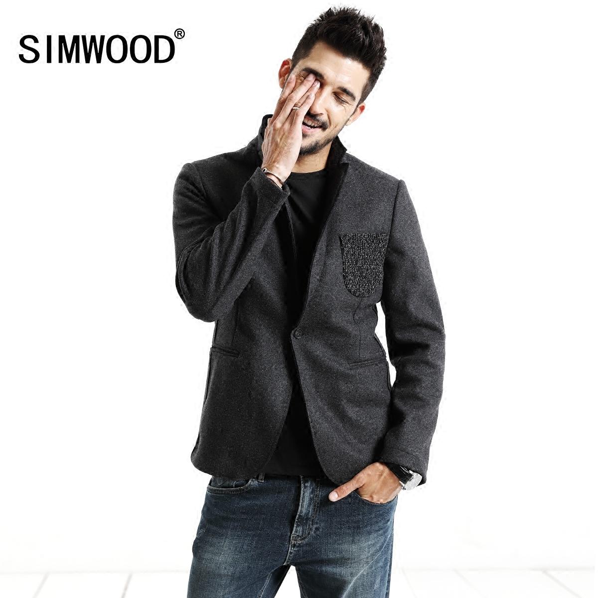 欧美西装男 Simwood简木男装秋季新款欧美修身薄款西服混羊毛休闲西装外套男_推荐淘宝好看的欧美西装男