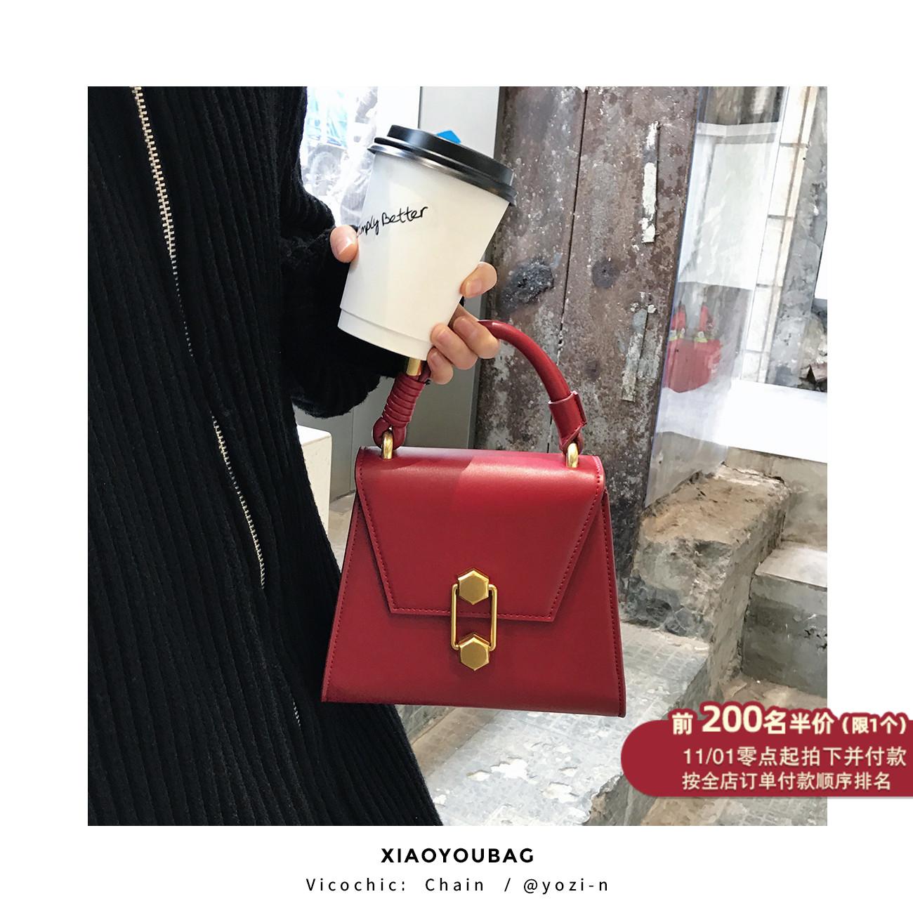 红色手提包 小优家包包 红色新娘婚包手提包女小包包2021新款潮单肩斜挎包_推荐淘宝好看的红色手提包