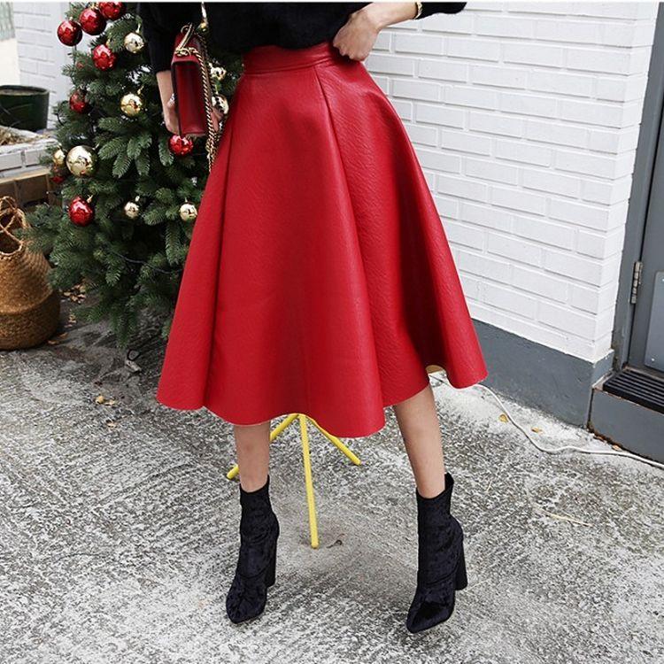 半身长裙子 秋季新款长裙 进口PU皮大摆A字款高腰红色中长款半身裙ZC17-18_推荐淘宝好看的半身长裙