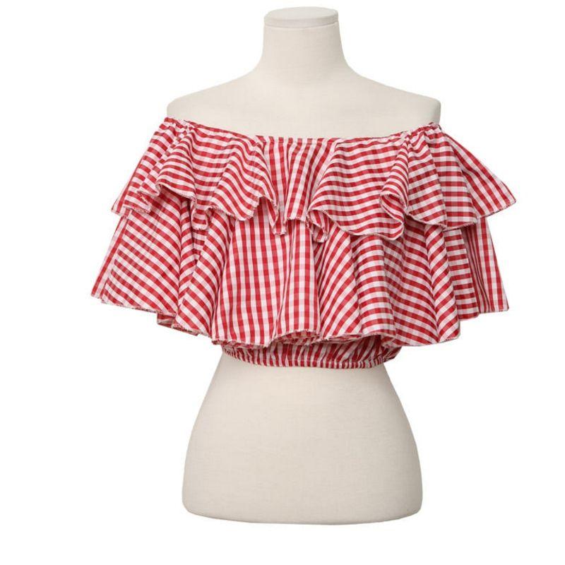 格子衬衫 夏季新款一字肩露肚脐少女风 时尚百搭格子短衬衫  显瘦显个高_推荐淘宝好看的女格子衬衫