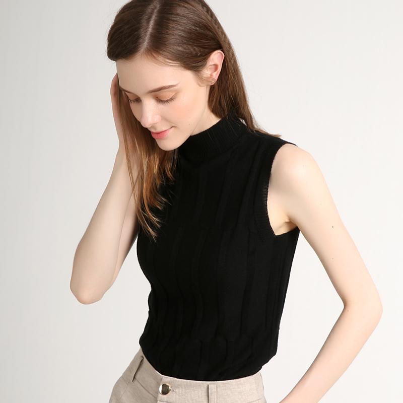 黑色针织衫 坎袖背心女夏小立领黑色天丝打底外穿半高领无袖薄针织衫短款修身_推荐淘宝好看的黑色针织衫
