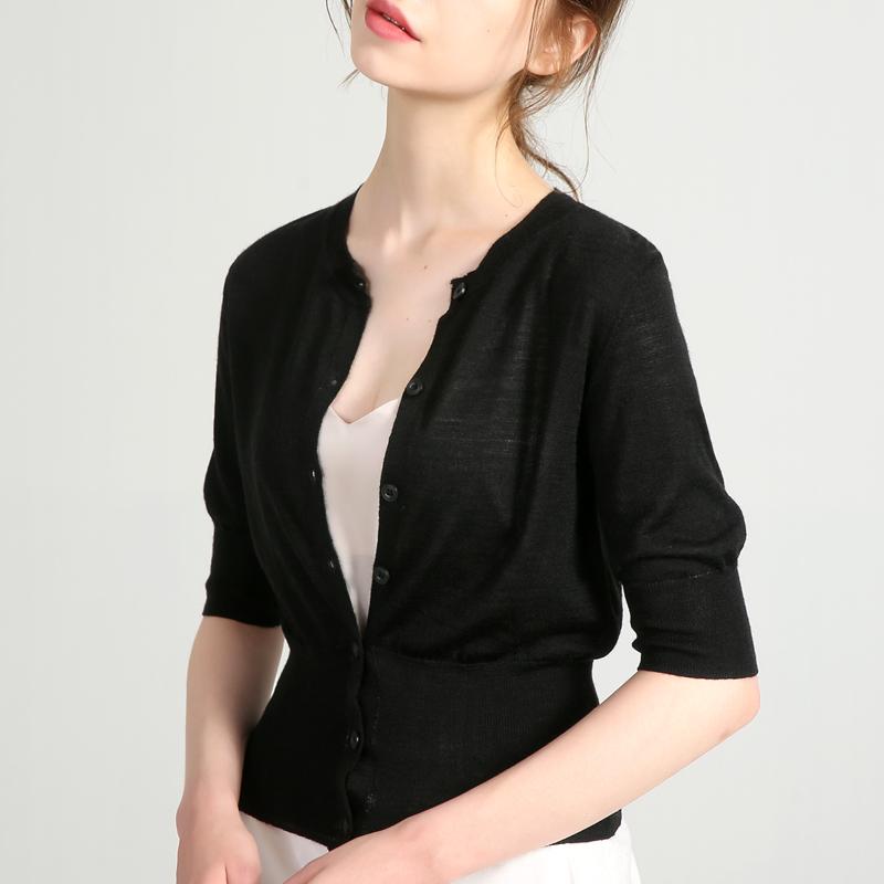 黑色针织衫 黑色短袖针织衫女收腰短款上衣夏显瘦小香风外搭修身薄款开衫外套_推荐淘宝好看的黑色针织衫