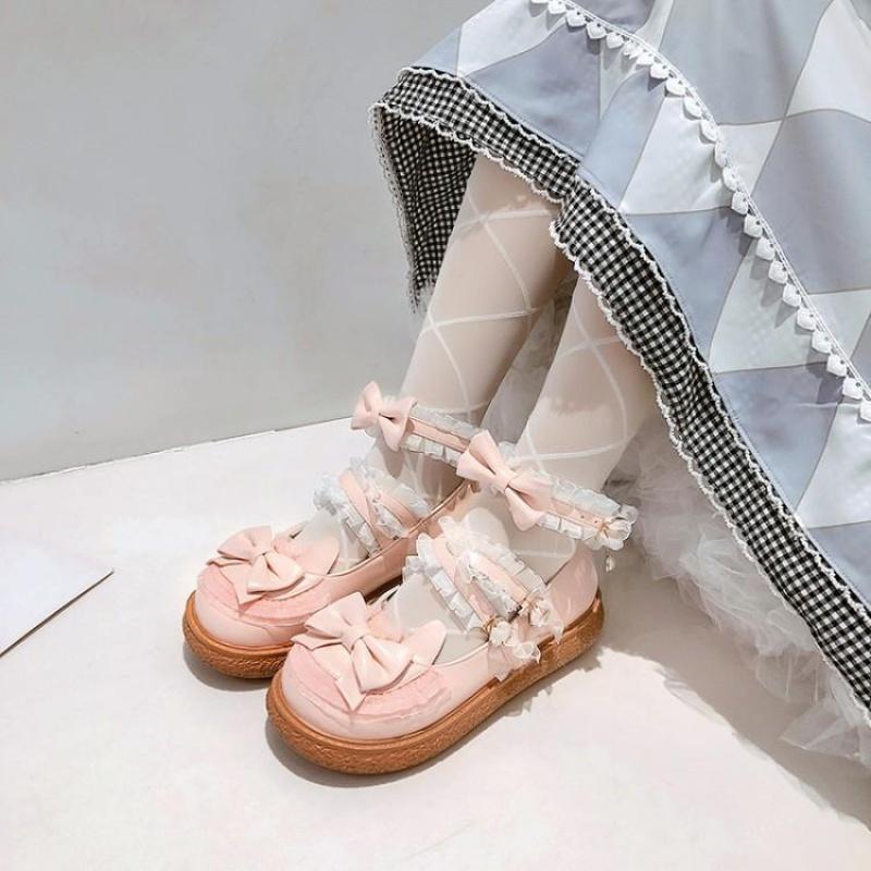 粉红色厚底鞋 甜美公主春秋女厚底低跟单鞋米色白色粉红色学生鞋大码小码鞋 YGP_推荐淘宝好看的粉红色厚底鞋