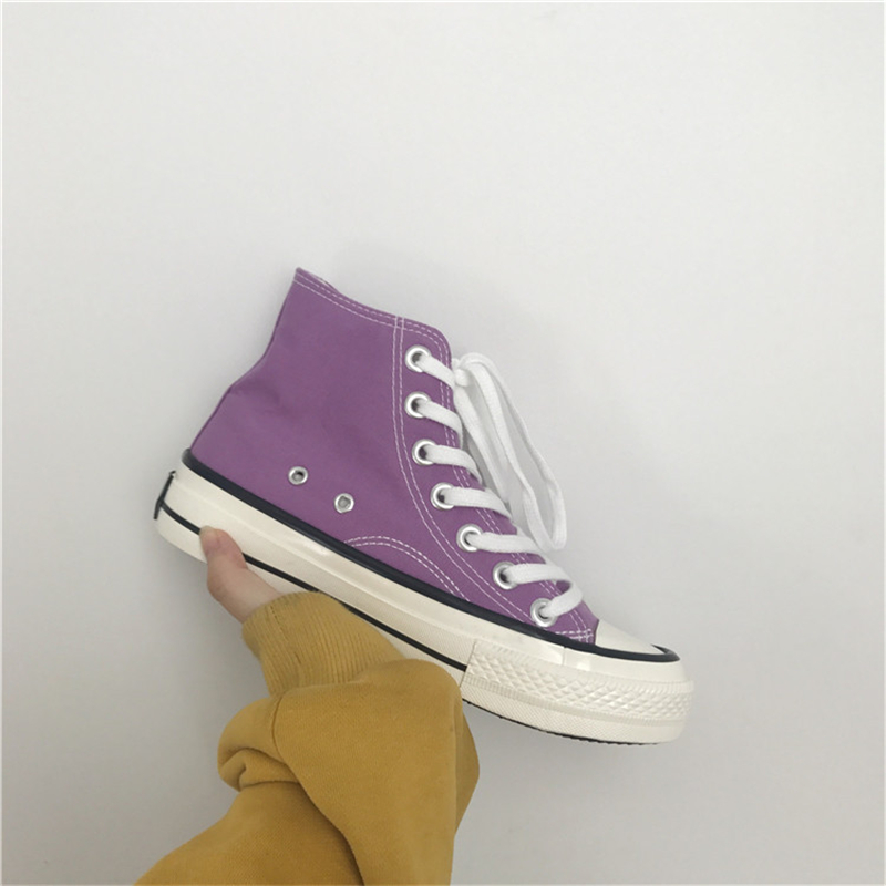 紫色帆布鞋 1970s复刻紫色高帮帆布鞋女港风复古学生布鞋韩国ulzzang情侣球鞋_推荐淘宝好看的紫色帆布鞋