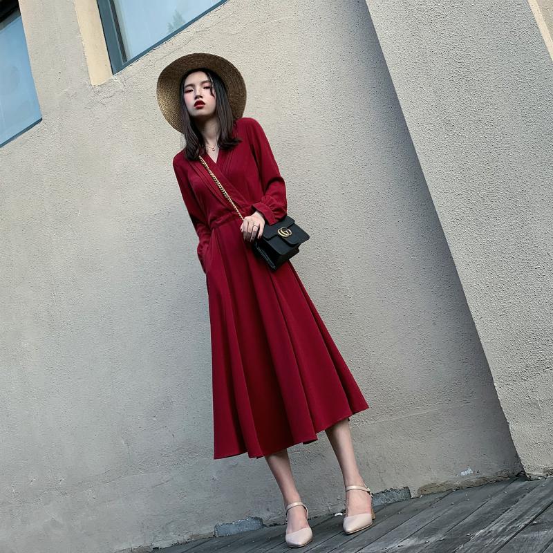 红色连衣裙 法式小众雪纺长裙春夏2021新款红色V领长袖连衣裙收腰显瘦气质裙_推荐淘宝好看的红色连衣裙