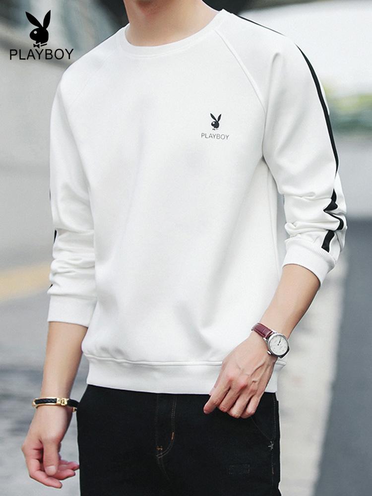 男士套头卫衣 花花公子卫衣男士2019年新款韩版潮流白色圆领套头加绒秋冬季外套_推荐淘宝好看的男套头卫衣