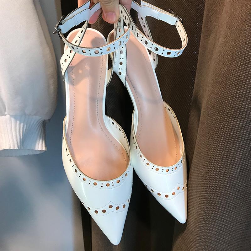 白色罗马鞋 2020新款一字扣高跟鞋中跟细跟凉鞋白色镂空系带罗马鞋黑色尖头鞋_推荐淘宝好看的白色罗马鞋