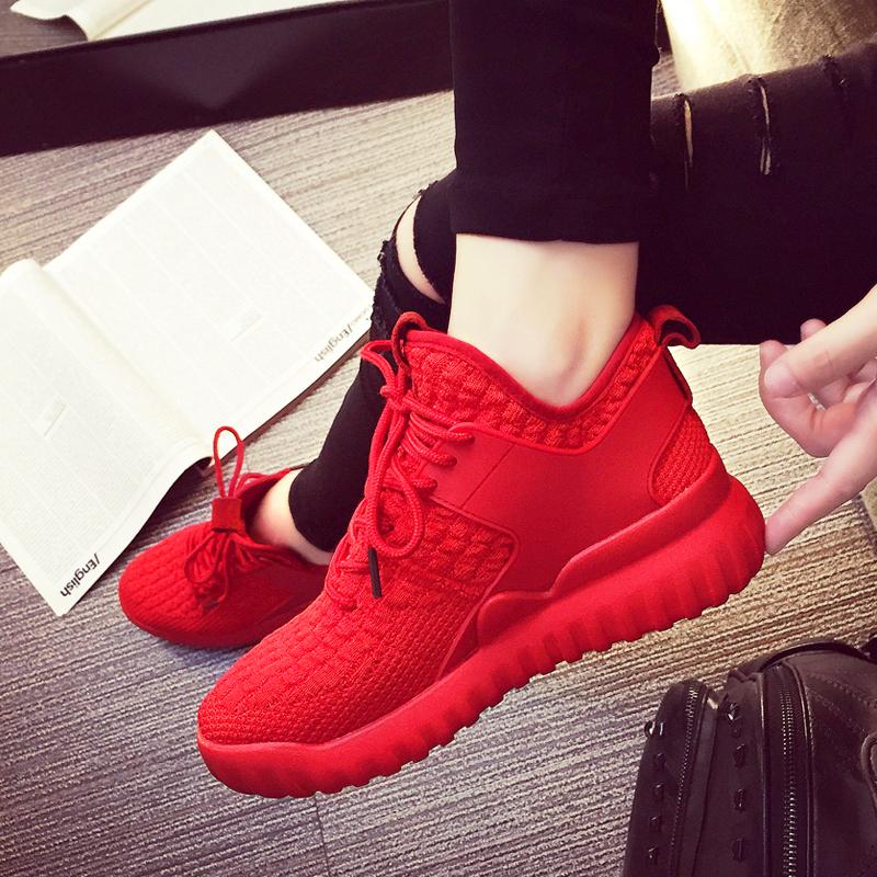 红色运动鞋 红色本命年跑步运动鞋女秋季2020新款网面老爹鞋百搭休闲高帮鞋子_推荐淘宝好看的红色运动鞋