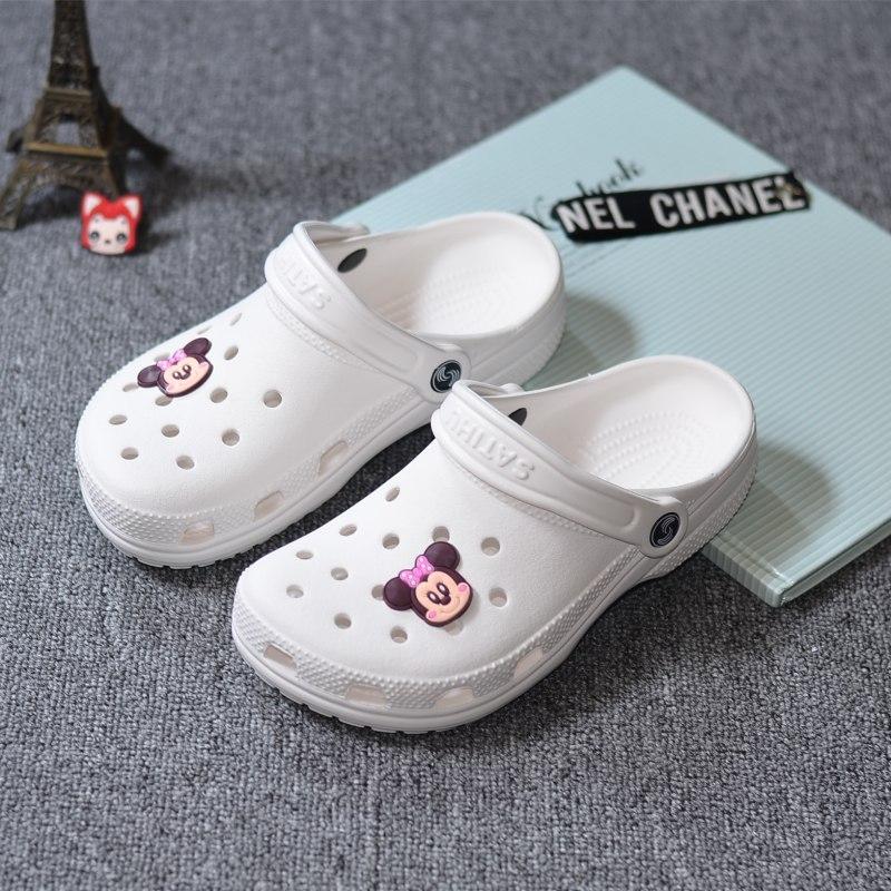 白色凉鞋 夏季新款洞洞鞋女凉鞋白色护士鞋沙滩鞋40特大码凉拖鞋41-42-43码_推荐淘宝好看的白色凉鞋