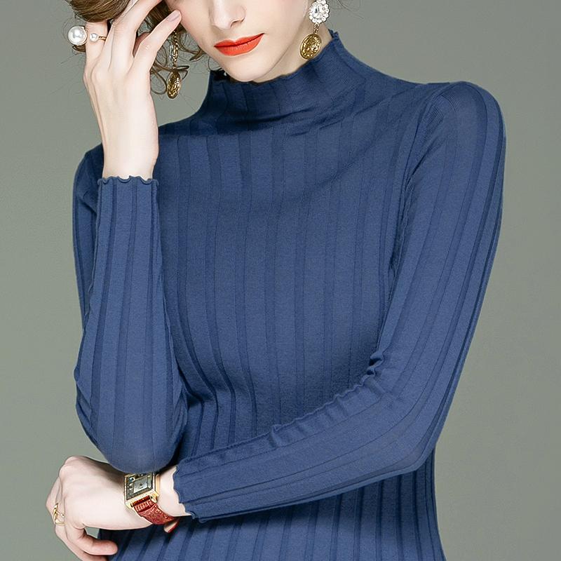 针织衫 100%美丽诺羊毛打底衫长袖小衫半高领毛针织衫冬季新款修身上衣女_推荐淘宝好看的女针织衫