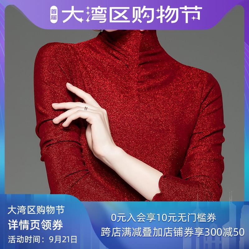 红色T恤 时尚亮丝打底衫女长袖T恤秋季新款洋气红色修身网纱上衣百搭小衫_推荐淘宝好看的红色T恤