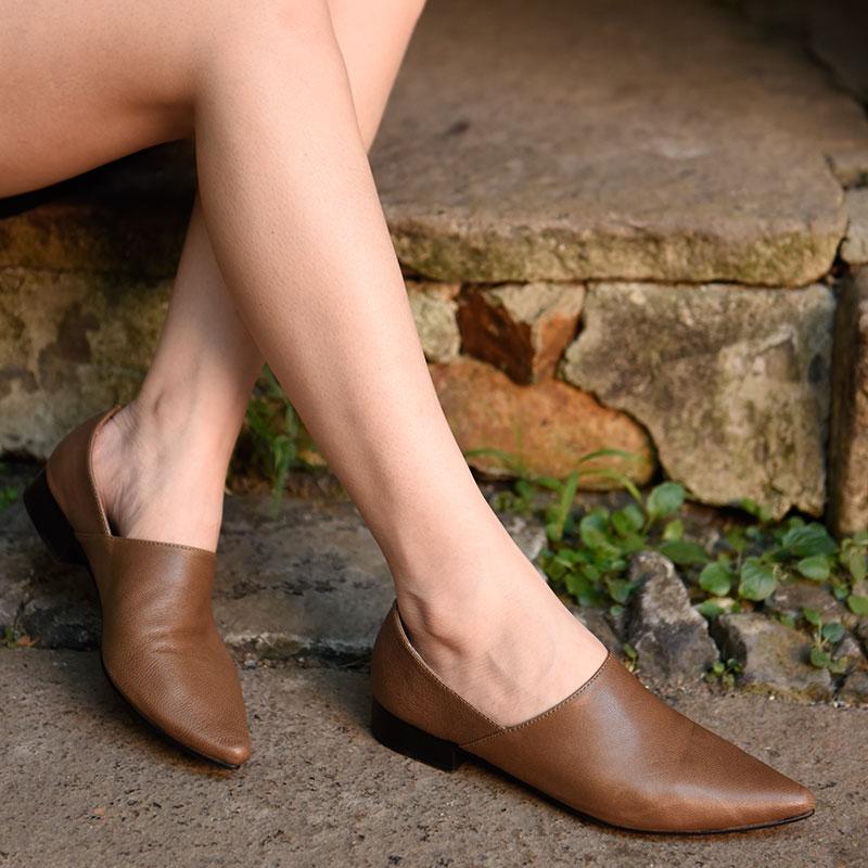 欧美款尖头鞋 Artmu阿木原创新款欧美尖头低跟单鞋女百搭两穿文艺真皮深口女鞋_推荐淘宝好看的欧美尖头鞋