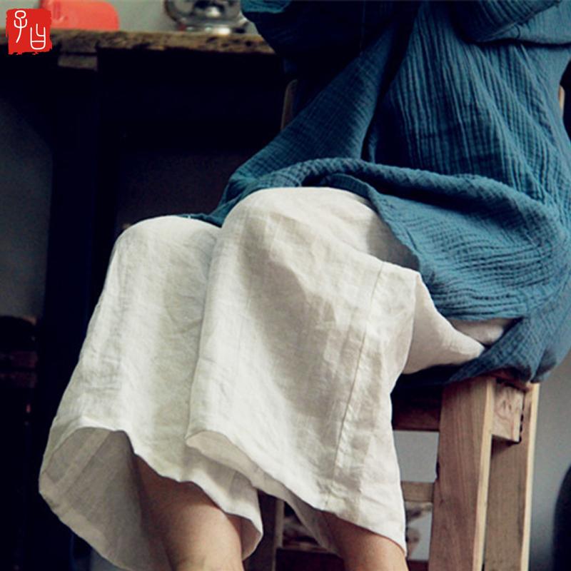 宽松休闲裤 苎麻休闲裤原创文艺复古阔腿裤女亚麻裤子宽松大码百搭禅意九分裤_推荐淘宝好看的女宽松休闲裤