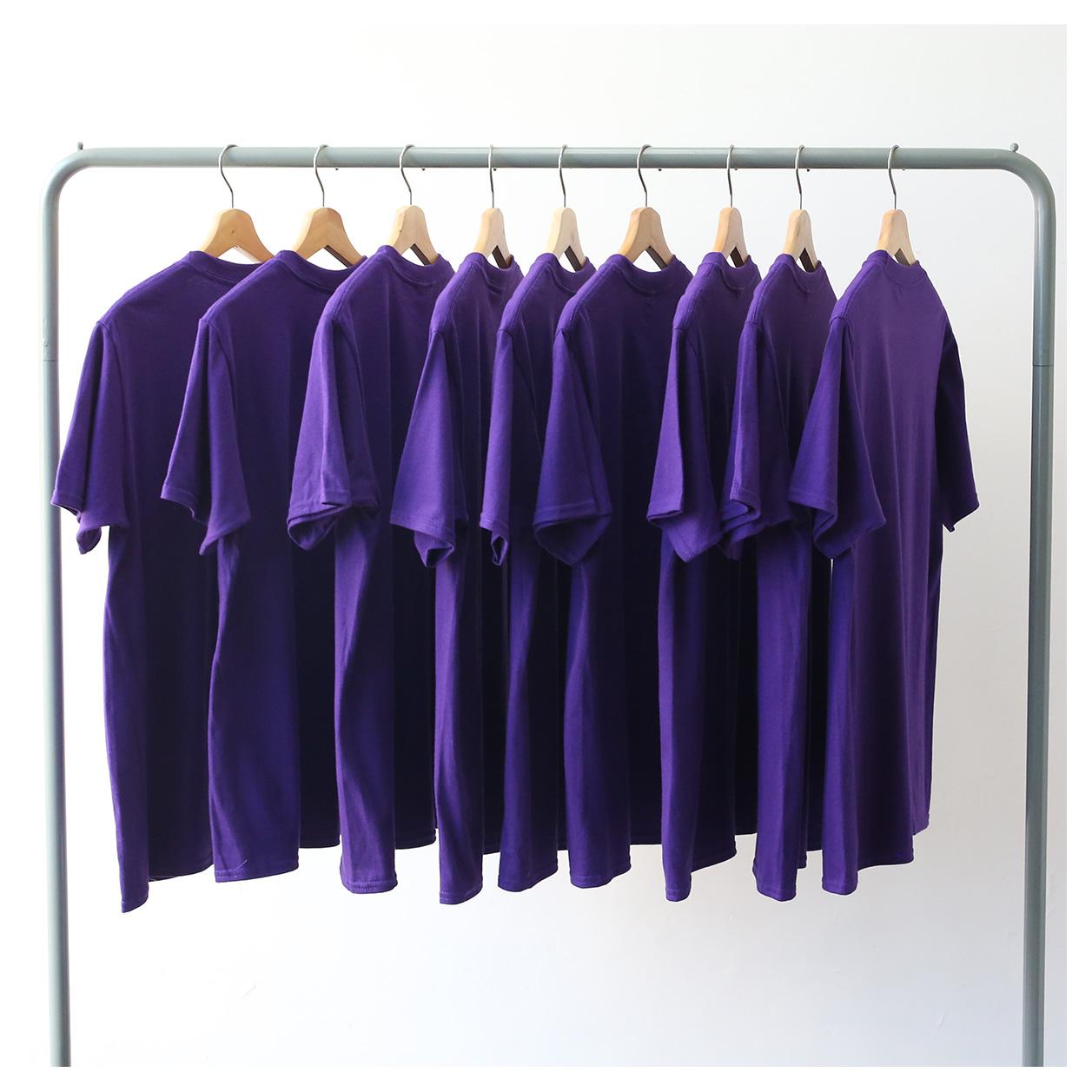 紫色T恤 夏季纯棉紫色打底衫简约常规圆领短袖T恤男女宽松情侣嘻哈港风潮_推荐淘宝好看的紫色T恤