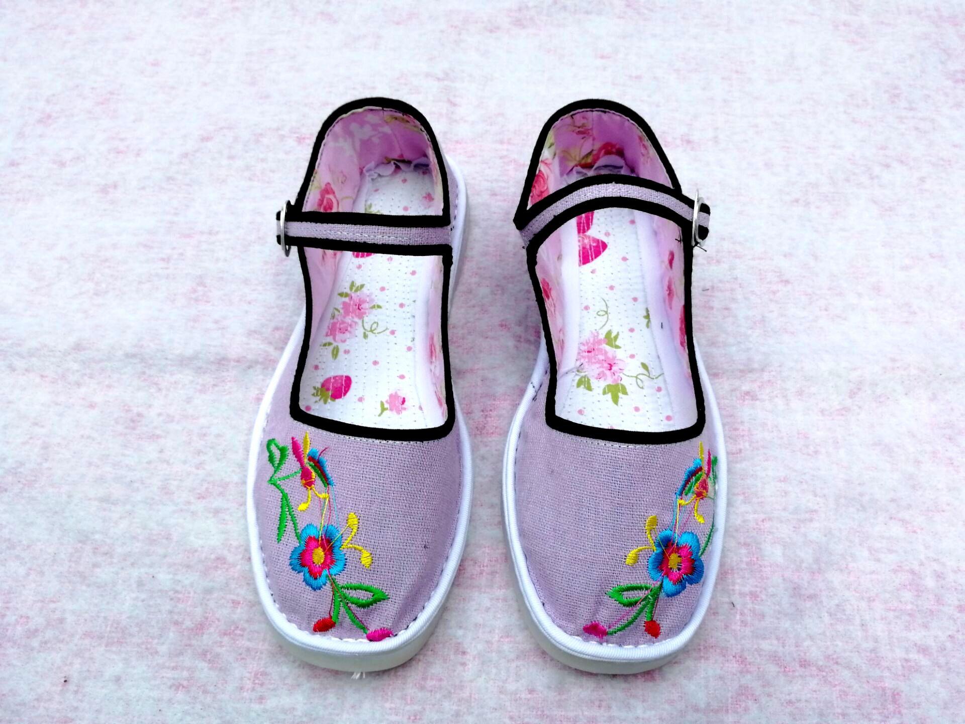 紫色平底鞋 春秋绣花女布鞋紫色浅口低帮单鞋扣带休闲居家鞋塑料平底定制包邮_推荐淘宝好看的紫色平底鞋