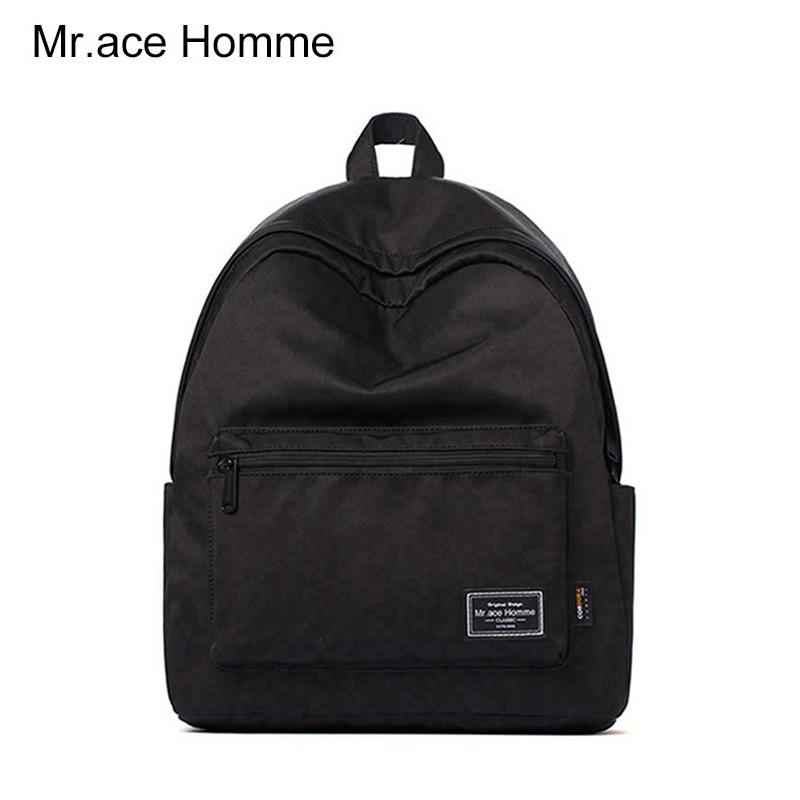 电脑双肩包 Mr.ace homme经典款双肩包男电脑背包休闲女包潮纯色百搭学生书包_推荐淘宝好看的女电脑双肩包