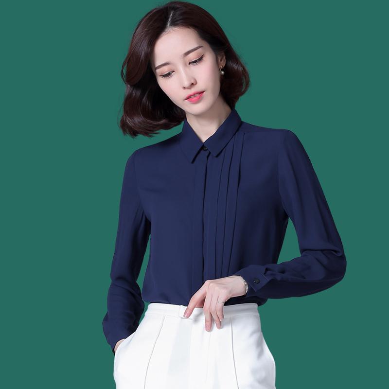 女士长袖雪纺衫 2020春季韩版修身深蓝长袖雪纺女式衬衫白色通勤工衣百搭OL职业_推荐淘宝好看的女士长袖雪纺衫