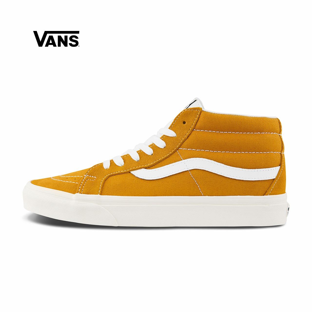 黄色运动鞋 Vans范斯 经典系列SK8-Mid板鞋运动鞋新品中帮男女姜黄色官方正品_推荐淘宝好看的黄色运动鞋