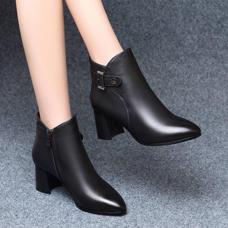 女性高跟鞋 2019秋冬季新款高跟时装靴女粗跟短靴女靴子中跟加绒加厚女鞋防滑_推荐淘宝好看的女高跟鞋