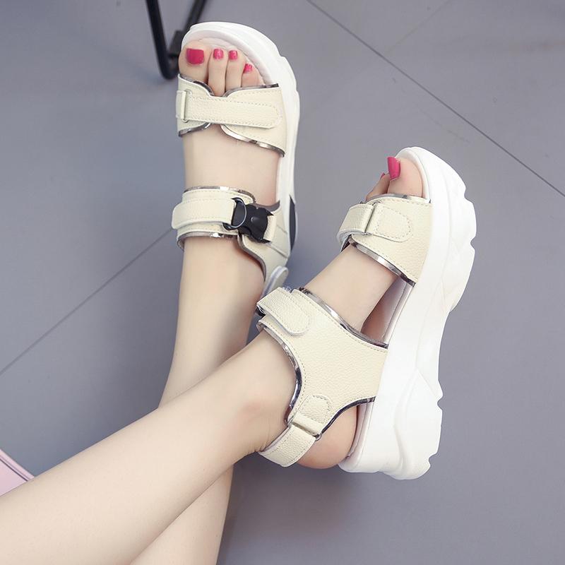 坡跟罗马鞋 厚底运动凉鞋女夏2019新款韩版学生百搭魔术贴松糕坡跟罗马老爹鞋_推荐淘宝好看的坡跟罗马鞋