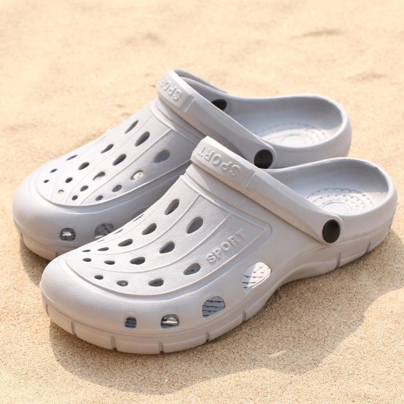 沙滩女凉鞋 夏季洞洞鞋女情侣防滑花园鞋包头沙滩鞋凉鞋大头护士学生拖鞋男女_推荐淘宝好看的女沙滩凉鞋