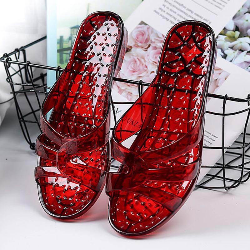 拖鞋 夏季新款拖鞋女水晶塑料果冻凉拖鞋室内居家防滑防臭洗澡一字拖女_推荐淘宝好看的女拖鞋