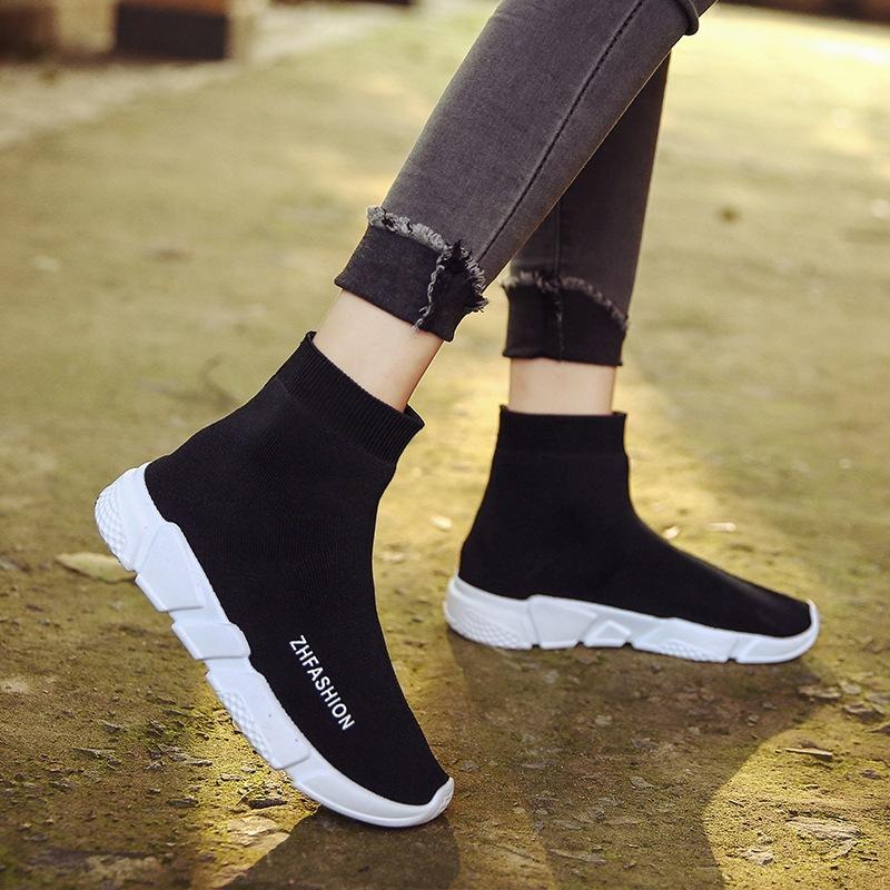 红色高帮鞋 2021新款弹力袜子短靴男女情侣运动休闲跑鞋黑色红色高帮针织男鞋_推荐淘宝好看的红色高帮鞋