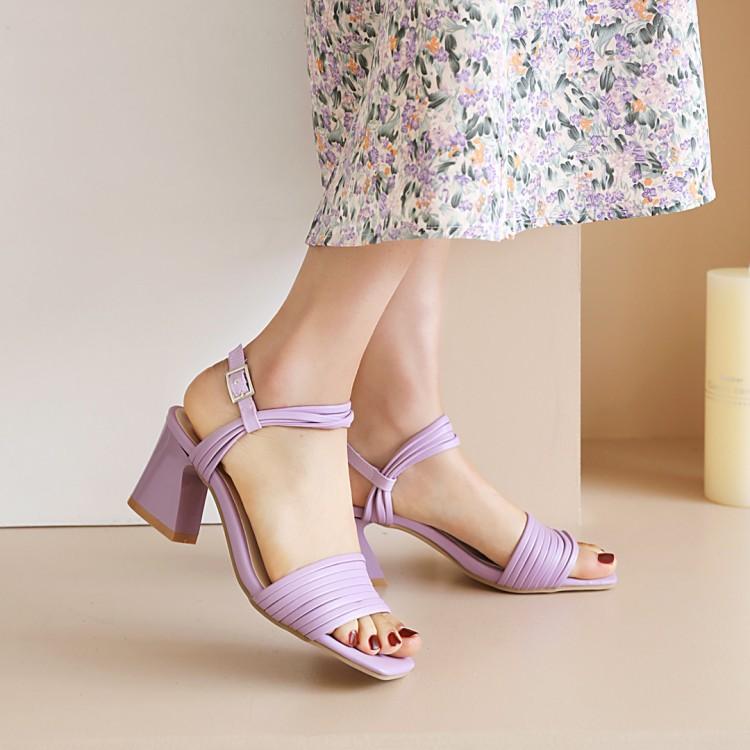 紫色鱼嘴鞋 夏季罗马凉鞋女露趾高粗跟镂空一字扣绿白紫色pu皮少女时尚度假鞋_推荐淘宝好看的紫色鱼嘴鞋