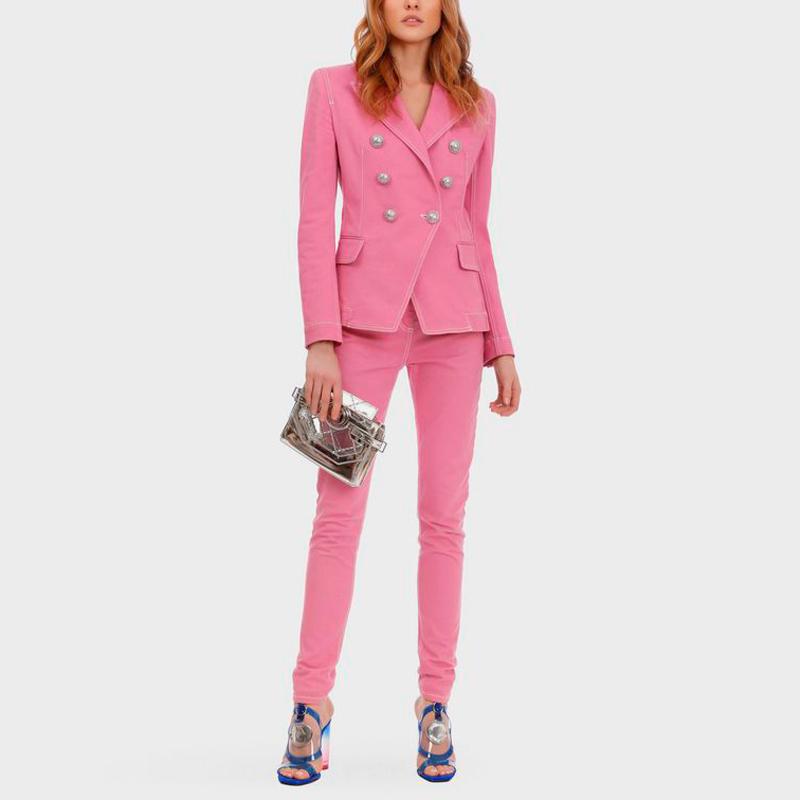 粉红色小西装 欧洲站外贸女装春秋夹克套装裤粉红色小西装外套牛仔裤长裤两件套_推荐淘宝好看的粉红色小西装