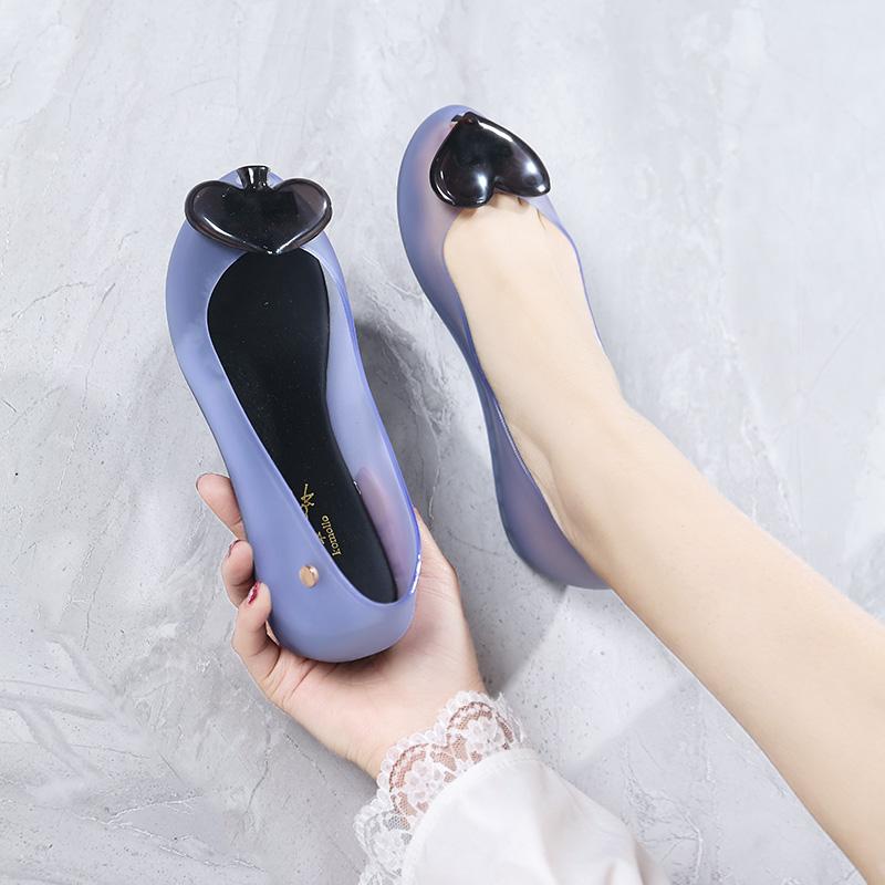 韩版坡跟鞋 2021夏新款韩版潮果冻鞋女凉鞋鱼嘴平底防水塑料桃心坡跟沙滩雨鞋_推荐淘宝好看的韩版坡跟鞋
