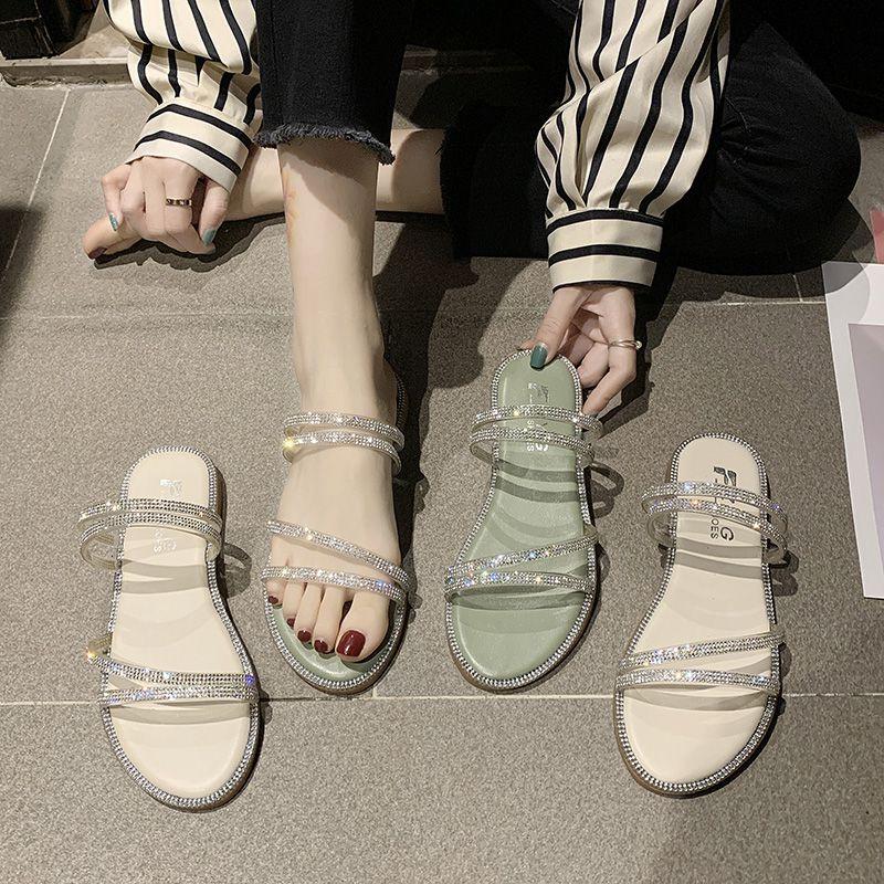 水钻罗马鞋 平底时装凉鞋女两穿2020夏季新款仙女风时尚百搭水钻带钻罗马拖鞋_推荐淘宝好看的水钻罗马鞋
