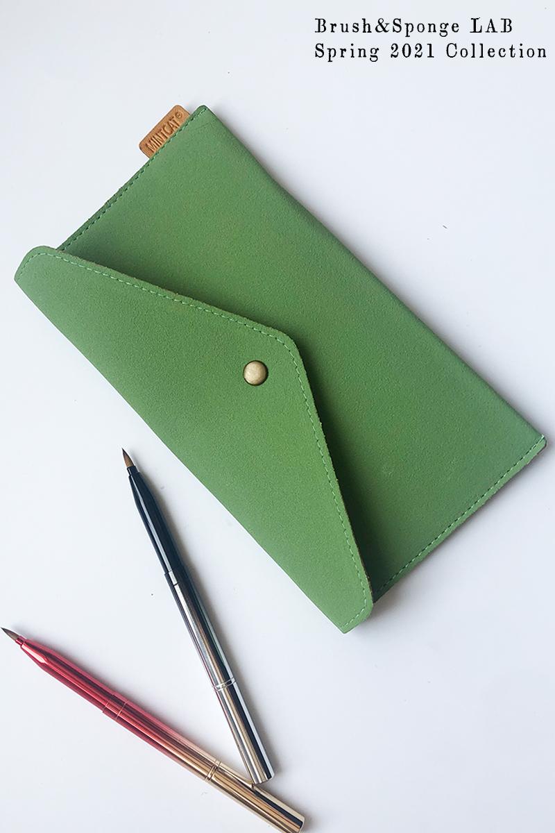 绿色信封包 清新绿色麂皮绒简约信封分装化妆刷包便携收纳袋舒适感袋中袋补妆_推荐淘宝好看的绿色信封包