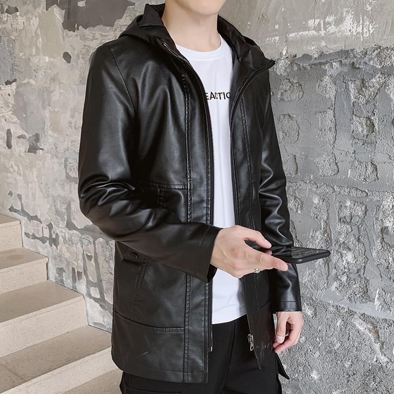 男士长款皮衣 2020新款中长款皮衣男中青年连帽加绒单层韩版修身风衣机车服潮流_推荐淘宝好看的男长款皮衣
