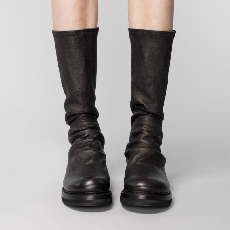 圆头短靴 圆头平底靴子黑色鞋子女2020秋冬新款网红短靴女过膝长筒靴瘦瘦靴_推荐淘宝好看的女圆头短靴
