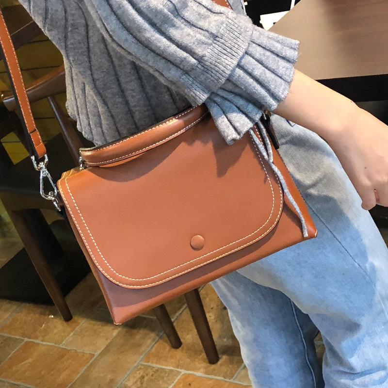 女式真皮手提包 2019新款女士真皮单肩包时尚欧美风范牛皮手提包女包包_推荐淘宝好看的女真皮手提包