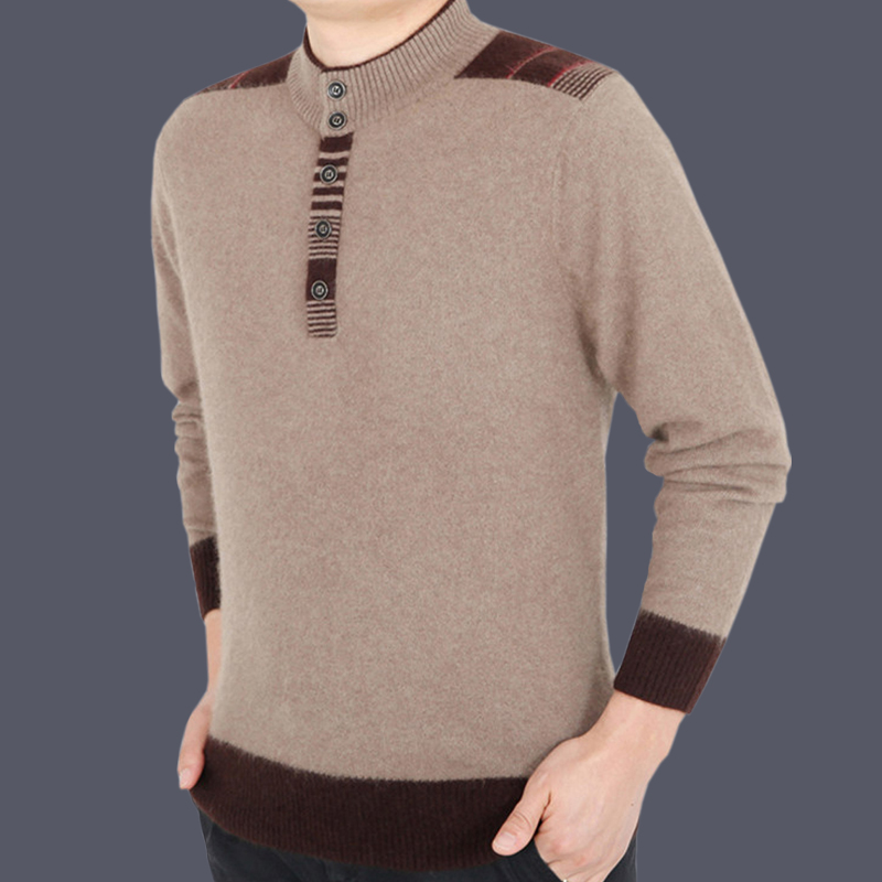 男士羊绒毛衣 产自鄂尔多斯羊绒衫男山羊绒加厚男装羊毛衫冬季男式羊毛衫毛衣_推荐淘宝好看的男羊绒毛衣