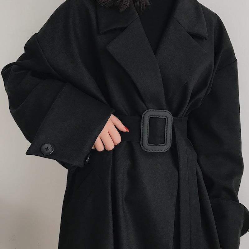 黑色风衣 boccalook赫本风黑色西装毛呢外套大衣女长款风衣大码秋冬季加厚_推荐淘宝好看的黑色风衣