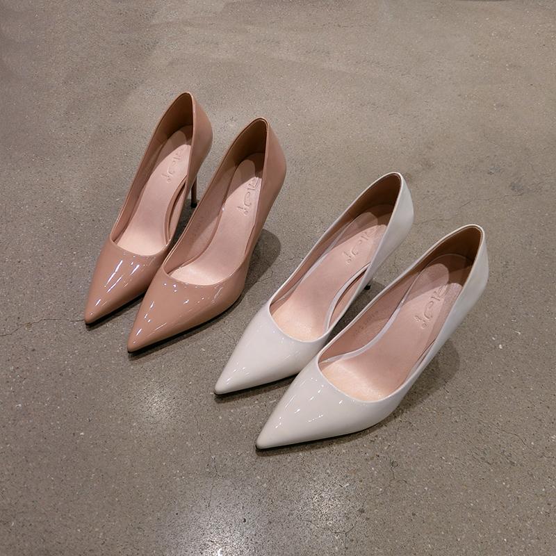 白色高跟鞋 星之途2020新款单鞋女鞋 细跟尖头白色杏色9公分简单漆皮高跟鞋女_推荐淘宝好看的白色高跟鞋