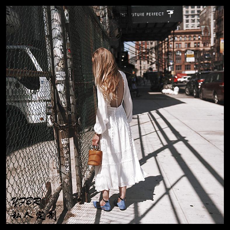 白色修身连衣裙 性感露背沙滩裙超仙泰国海边度假长袖连衣裙修身显瘦波西米亚长裙_推荐淘宝好看的白色修身连衣裙