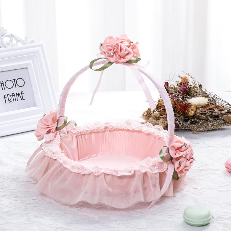 粉红色糖果包 热销全包布 粉红色玫瑰佳人节日舞蹈花篮 伴娘小花童提篮糖果装饰_推荐淘宝好看的粉红色糖果包