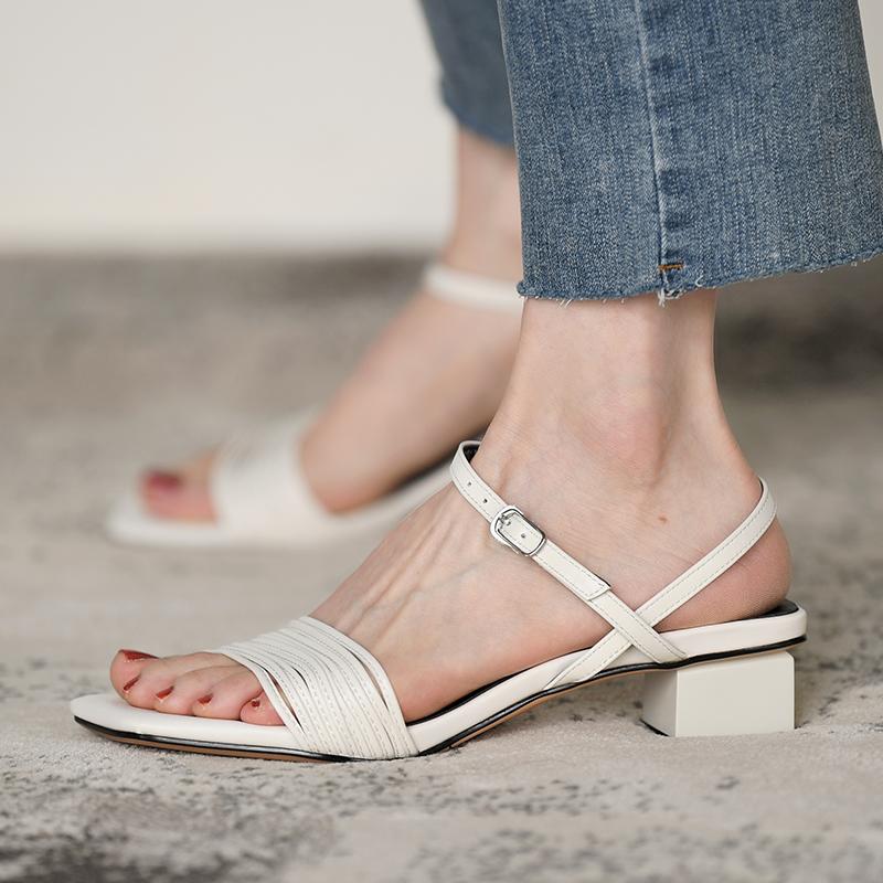 白色罗马鞋 皮厚先生 白色粗跟凉鞋女 中跟一字罗马鞋夏季露趾女鞋2020新款_推荐淘宝好看的白色罗马鞋